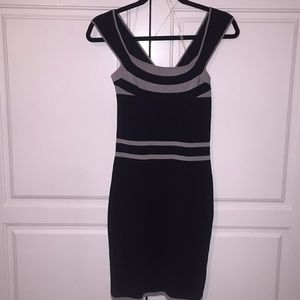 Express body con black gray off shoulder dress